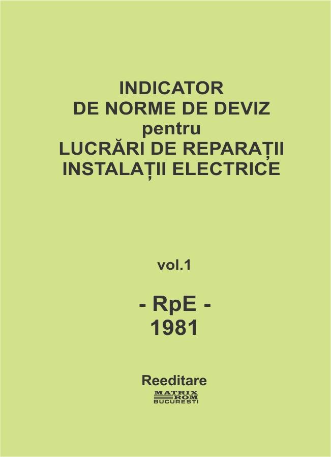 Indicator de norme de deviz pentru lucrari de reparatii instalatii electrice