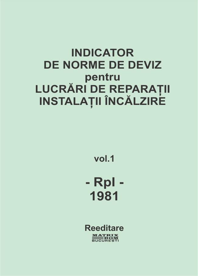 Indicator de norme de deviz pentru lucrari de reparatii instalatii incalzire