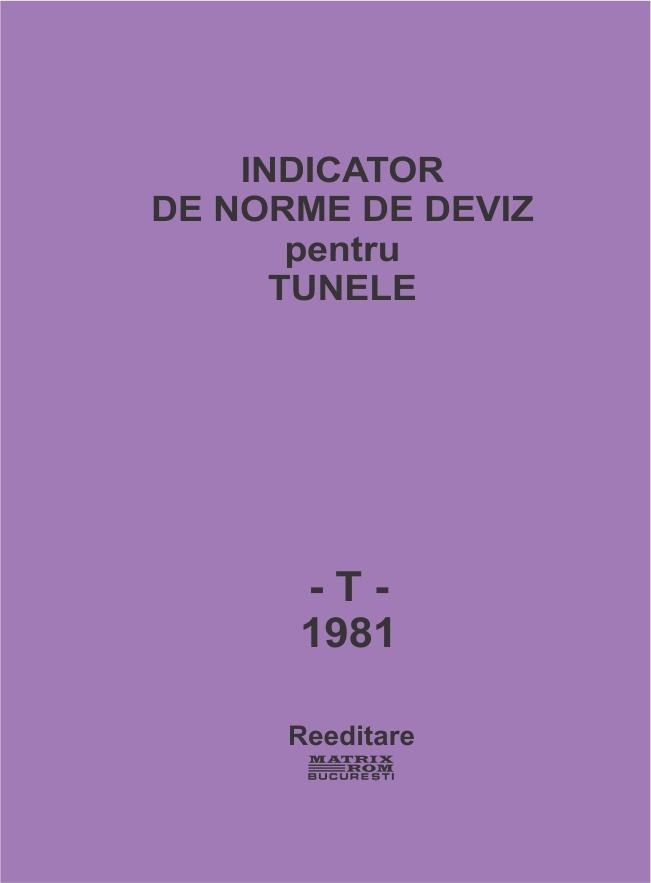 Indicator de norme de deviz pentru tunele